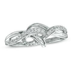 1/10 CT. T.W. Diamond Knot Ring in 10K White Gold - Zales - $211.65