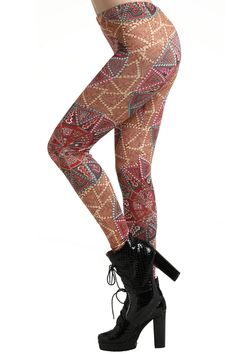 Ethnic Printing Leggings #Romwe
