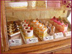fancy cakes in bakery case