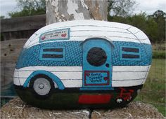 Vintage Travel Trailer RV handpainted rock by RocksOK on Etsy