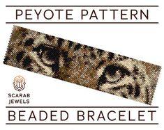 Leopard Eyes Pattern   Peyote Beading Bracelet   Cuff Bead Pattern   Miyuki Delica   PDF Instant Download