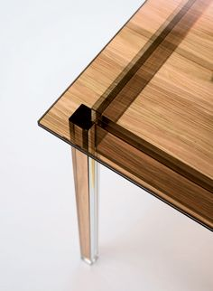 sublimazione wood-textured glass tables by ron gilad for glas italia