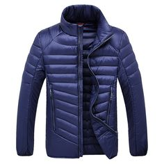 Only US$60.74 shop mens down cotton stand collar jacket solid color light thin business casual winter coat at Banggood.com. Buy fashion coat online. - Banggood Mobile