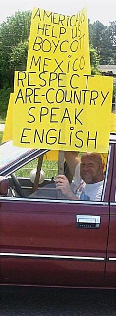 Funny Political Protest Signs: Speak English