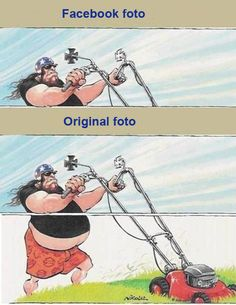 Humor acerca de como suelen ser las fotos originales con respecto a las que luego se ven colocadas ya en nuestro facebook.