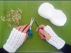 Tığişi Eldiven Yapımı (Çok Kolay) - YouTube Fingerless Gloves Knitted, Crochet Gloves, Crochet Scarves, Crochet Cat Toys, Free Crochet, Crochet Rug Patterns, Easy Youtube, Easy Knitting, Hand Warmers