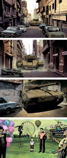 "art for the award winning animation documentary feature film ""Waltz with Bashir"" by director Ari Folman"