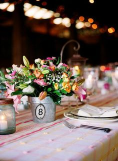 Rustic wedding - table number buckets