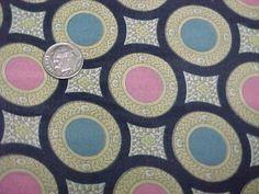 "Vintage Antique Cotton Quilt Doll Fabric Print 1800s Blue Pink 30"" Wide Circles"