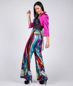 #italianStyle #madeinitaly #wearitalian Jumpsuit bustier in mikado fabric and colored pants multicolored fantasy in printed satin. Suitable for evening wear, for many cerimonies, for party and romantic encounters.