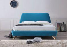 Strick & Bolton Forrest Mid-century Modern Upholstered Queen-size Platform Bed (B Platform Bed Sets, Queen Size Platform Bed, Upholstered Platform Bed, Upholstered Beds, Bed Upholstery, Blue Bedding, Queen Size Bedding, Bedding Sets, Headboard Designs