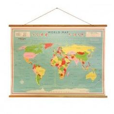 Decorative retro world map. To hang on the wall, facing the world. World Map Wall, Wall Maps, Vintage Travel Posters, Vintage World Maps, Poster Boys, Industrial Living, Vintage Industrial, Ideas Geniales, Travel Maps
