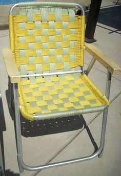 2 Vintage Aluminum Macrame Patio Lawn Porch Folding by diantiques, $60.00