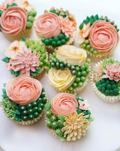Cupcakes decorated with Swiss Meringue Buttercream flowers and succulents. – Cupcakes decorated with Swiss Meringue Buttercream flowers and succulents. – Cupcakes Ideen Cupcakes decorated with Swiss Meringue Buttercream flowers and succulents. Cupcakes Succulents, Cactus Cupcakes, Cactus Cake, Flower Cupcakes, Teen Cupcakes, Party Cupcakes, Wedding Cupcakes, Flores Buttercream, Swiss Meringue Buttercream