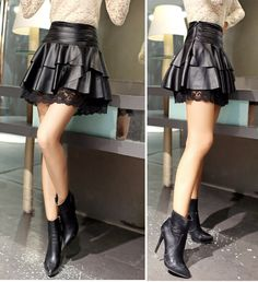 Lace pleated culottes autumn and winter leather skirt