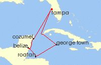 Cruise map for Carnival 7 Day Western Caribbean from Tampa, FL (9424)