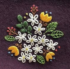 Cluster floral embroidery for decorative or visible mending. Cluster floral embroidery for decorative or visible mending. Hand Embroidery Projects, Embroidery Leaf, Floral Embroidery Patterns, Hand Embroidery Designs, Cross Stitch Embroidery, Visible Mending, Lazy Daisy Stitch, Cluster, Yellow Tulips