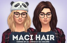Maci Hair• Comes in all EA colors + 18 ombre swatches • Hat Compatible • Base-Game Compatible • Retexturing/Recoloring is allowed but don't include the mesh Solid version - DOWNLOAD Ombre Version -...