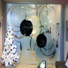 Custom design sandblast #doors design and installation by Evans Glass Co.