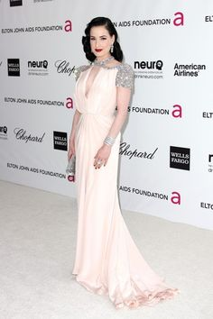 Dita Von Teese in Jenny Packham at the Elton John AIDS Foundation Academy Awards Viewing Party 02.26.12