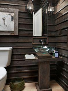 A Salvaged Wood Bathroom Wall Treatment - Wandbehandlung Rustic Bathroom Designs, Eclectic Bathroom, Rustic Bathrooms, Chic Bathrooms, Cottage Bathrooms, Design Bathroom, Bathroom Interior, Bathroom Modern, Bath Design