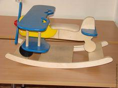 """Купить Детская качалка """"самолет"""" - разноцветный, игрушка для детей, техника, фанера, самолет, фанера"""