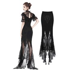 Gothic Lace Patterned Swallow Tail Skirt With Wrap Up Buttocks Design - Dentelle diy couture Gothic Dress, Gothic Outfits, Grunge Outfits, Fashion Outfits, Fashion Tips, Fashion Trends, Gothic Pants, Gothic Leggings, Style Fashion