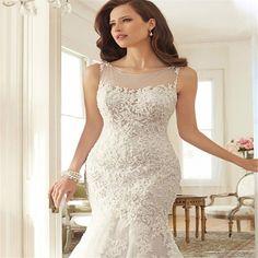 Mermaid Floor Length Court Train Lace Sleeveless Appliques Button  Wedding dress vestido de noiva 2017 New Arrival