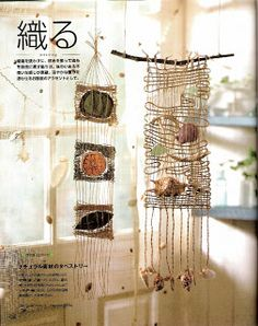 Weaving with natural items embedded Weaving Textiles, Weaving Art, Loom Weaving, Tapestry Weaving, Fun Crafts To Do, Diy And Crafts, Arts And Crafts, Weaving Wall Hanging, Weaving Projects