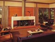 MCM living room - love the fireplace! Retro Room, Mid Century Living, Groovy Interiors, Mid Century Furnishings, Cool Rooms, Mid Century Living Room, Home Decor, Mcm Living Room, Vintage Interiors