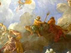 Ceiling mural close-ups Rococo Painting, Ceiling Murals, Classic Paintings, Classical Art, Renaissance Art, Gods And Goddesses, Aesthetic Pictures, Collage Art, Art History