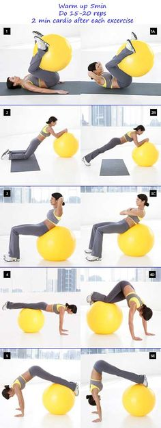 Abs workout with stability ball.  Do 2 min cardio between exercises.  Remember to warm up and cool down at the beginning and end of the routine for 5 min.