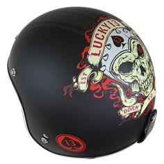 Lucky 13 Mens Motor Skull Matte Black Open Face Helmet