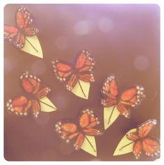 Fluttering monarch butterfly bobbie pins, part of Amy Brand's piece for Bugzilla!