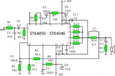 """Amplifier circuit with IC STK is tough and good quality. In this article an amplifier circuit with IC STK another base. Power """"Amplifier By Electronic Kits, Electronic Schematics, Electronic Engineering, Electrical Engineering, Electronic Circuit, Radios, Car Audio Amplifier, Stereo Amplifier, Speakers"""