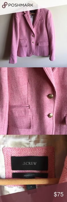 """J. Crew wool herringbone schoolboy blazer in pink Excellent condition, no flaws. 18"""" from underarm to underarm and 22"""" long. From J. Crew: One of our all-time favorites, with a slightly shrunken, superchic fit and details like a secret interior pocket for carrying little extras like lipstick (and hello, ChapStick). Crafted in a beautiful tweedy herringbone and finished with crested gold buttons for a touch of legacy luxe. Wool. Hits at hip. Lapel collar. Sleeve vents with buttons. Chest welt…"""