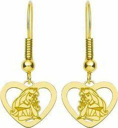 Gold Plated Sterling Silver Disney Princess Aurora Heart Dangle Earrings FindingKing. $54.99