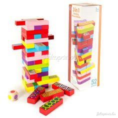 """+1.+Jenga++Építsen+tornyot+a+következő+szerint.+Helyezzen+3+téglalapot+minden+sorba+úgy,+hogy+az+egymást+követő+sorok+90+fokkal+el+legyenek+forgatva+(keresztbe).+A+játékosok+felváltva+húzzanak+ki+egy+téglalapot+és+helyezzék+a+torony+tetejére.+Az+első+játékos,+akinél+a+torony+leborul,+veszített.+(kiesik)+Az+összes+többi+játékos+újraépítheti+a+tornyot.+Az+a+győztes+""""túlélő"""",+aki+utoljára+marad.+Egyéb+opciók:+Azért,+hogy+nehezebbé+tegye+a+játékot,+használja+a+következő+nehezítéseket:++1.+C..."""
