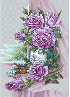 RTO Gorgeous Roses - Cross Stitch Kit. Cross Stitch Kit featuring flowers. This Cross Stitch Kit comes complete with 14 Count Zweigart Aida, pre-sorted DMC flos