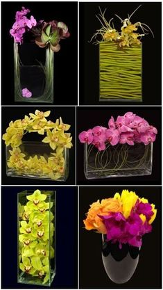 Interesting orchid centerpieces that mirror the style of the Callas you like