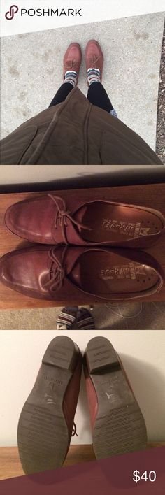 VINTAGE French leather oxfords Brand: Mephisto. Love love love. I'm just not wearing them as much! They are a vintage item  (hence the silver sharpie on the bottom - got from a vintage thrift shop). LOTS of wear left! Size 10 but fits my 8 1/2 - 9 sized feet. Mephisto Shoes Flats & Loafers