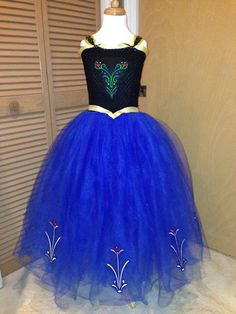 """This Disney's Frozen Princess Anna inspired dress is custom handmade for your little Princess and the top is FULLY LINED!!! Perfect for Birthdays, Photo shoots, a trip to Disney, Halloween costume or just to dress up in and """"Build a Snowman""""!!"""