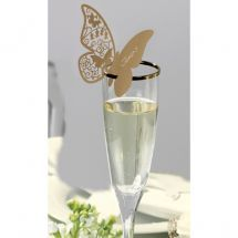 Gold Laser Cut Butterfly Place Card will sit elegantly on top of your glass and present your guests with a warm welcoming.