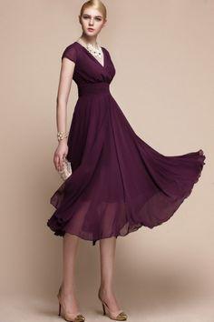 Purple Empire Chiffon Dress... in emerald green, please.