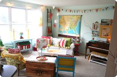 love all the colors in this space and the map!
