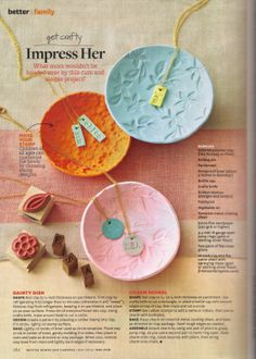 Impress Her - BHG May 2014 polymer clay dishes & pendants