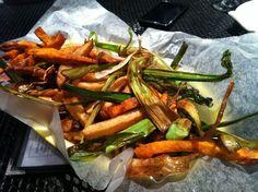 From Dock Street Brewery in West Philadelphia: trio of regular fries, sweet potato fries and grilled leeks