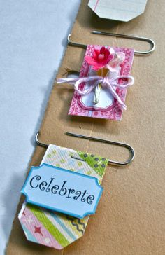 embellishments then simply slide onto your card, layout, tag or altered album. The vintage ledger paper clip below is a fun idea if you want to add some journaling. I simply adhered the ledger paper to cardstock to make it firm for the paperclip. To Do Planner, Happy Planner, Paperclip Crafts, Paperclip Bookmarks, Paper Clip Art, Paper Clips Diy, Paper Crafts, Diy Crafts, Candy Cards