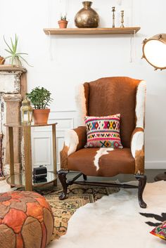 #PatinaZodiacStyle featuring our Cowhide Wingback for the Leo Lounge | Patina