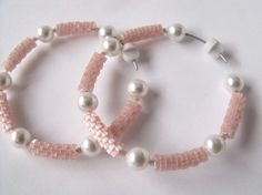 Peach beaded earrings seed beaded jewelry bead by FMGuyDesigns, $25.00